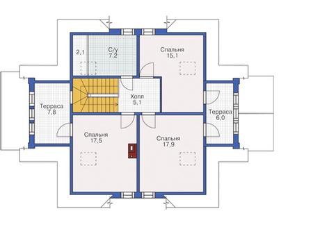 Планировка мансардного этажа :: Проект деревянного дома 12-16