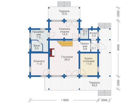 Планировка первого этажа :: Проект деревянного дома 12-18