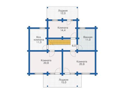Планировка мансардного этажа :: Проект деревянного дома 12-18