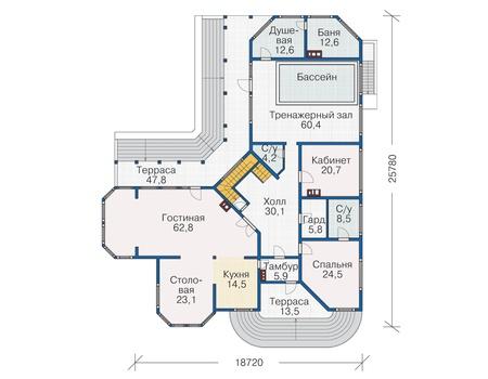 Планировка первого этажа :: Проект деревянного дома 12-19