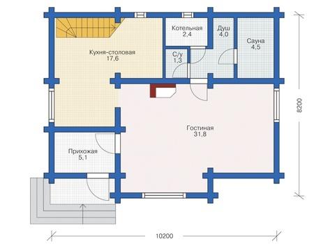 Планировка первого этажа :: Проект деревянного дома 12-31