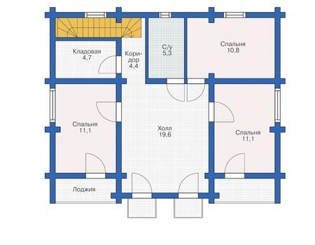 Планировка мансардного этажа :: Проект деревянного дома 12-31