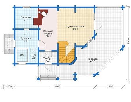 Планировка первого этажа :: Проект деревянного дома 12-43