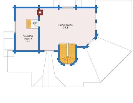 Планировка мансардного этажа :: Проект деревянного дома 12-43