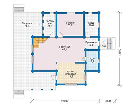 Планировка первого этажа :: Проект деревянного дома 12-56