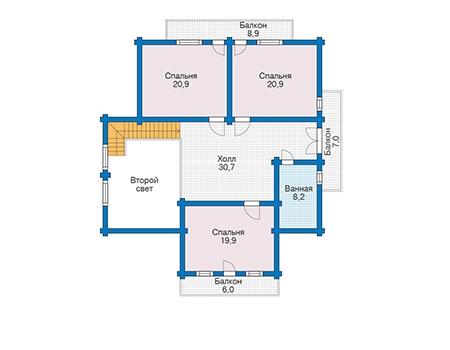 Планировка мансардного этажа :: Проект деревянного дома 12-56