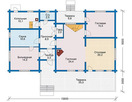 Планировка первого этажа :: Проект деревянного дома 12-62
