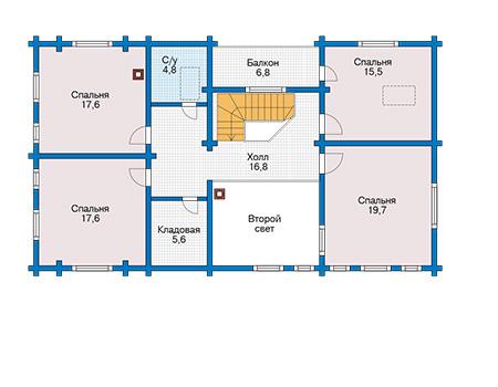Планировка второго этажа :: Проект деревянного дома 12-62