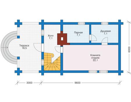Планировка первого этажа :: Проект деревянного дома 12-65