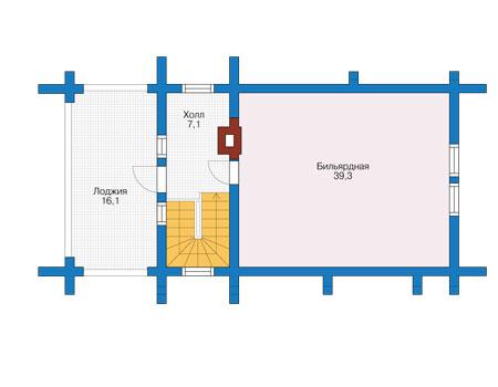 Планировка второго этажа :: Проект деревянного дома 12-65
