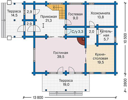 Планировка первого этажа :: Проект деревянного дома 12-66
