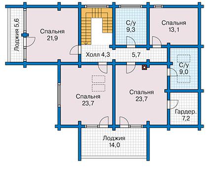 Планировка мансардного этажа :: Проект деревянного дома 12-66
