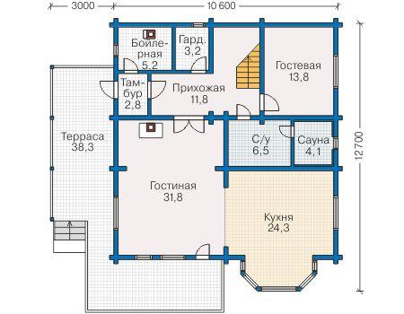 Планировка первого этажа :: Проект деревянного дома 12-67