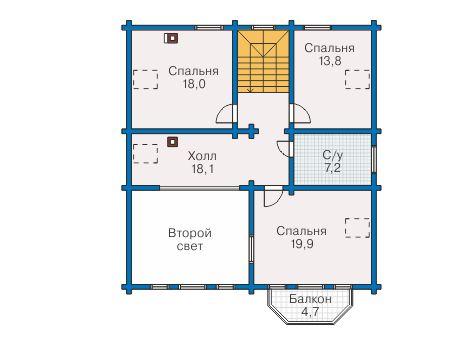 Планировка мансардного этажа :: Проект деревянного дома 12-67