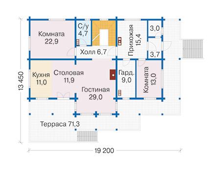 Планировка первого этажа :: Проект деревянного дома 12-71