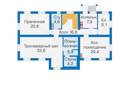 Планировка цокольного этажа :: Проект деревянного дома 12-71