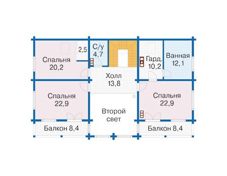 Планировка мансардного этажа :: Проект деревянного дома 12-71