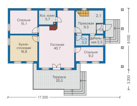 Планировка первого этажа :: Проект деревянного дома 12-72