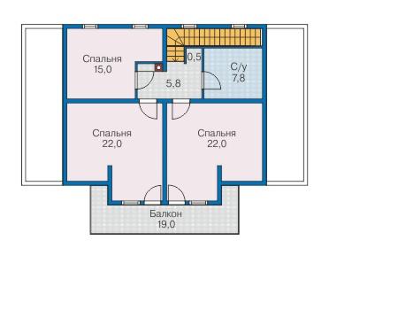 Планировка мансардного этажа :: Проект деревянного дома 12-72