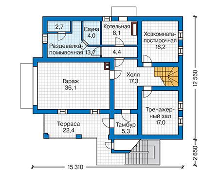 Планировка цокольного этажа :: Проект деревянного дома 12-75