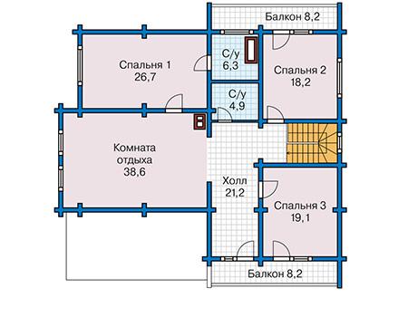 Планировка мансардного этажа :: Проект деревянного дома 12-75