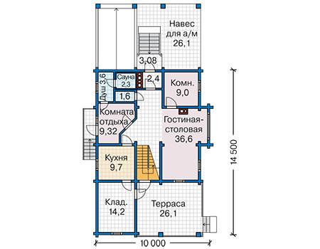 Планировка первого этажа :: Проект деревянного дома 12-76