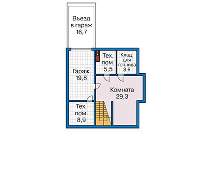 Планировка цокольного этажа :: Проект деревянного дома 12-76