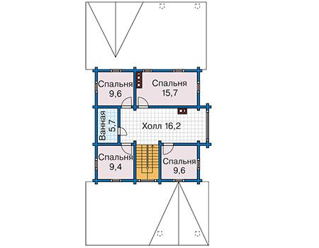 Планировка мансардного этажа :: Проект деревянного дома 12-76