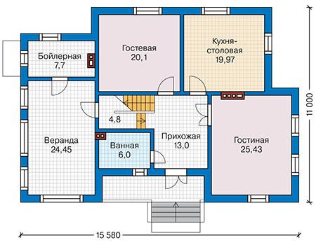 Планировка первого этажа :: Проект деревянного дома 12-78