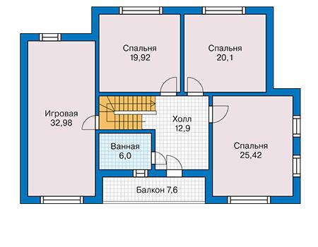 Планировка мансардного этажа :: Проект деревянного дома 12-78