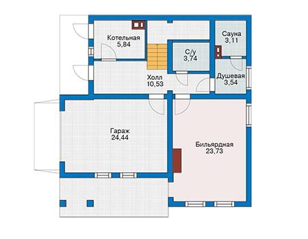 Планировка первого этажа :: Проект деревянного дома 12-79
