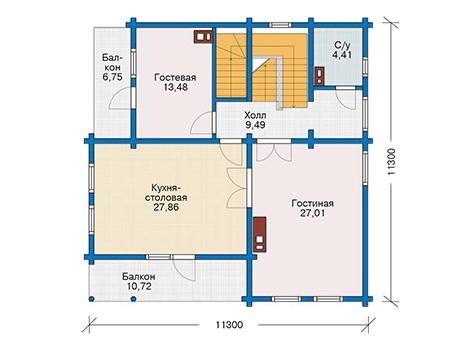 Планировка второго этажа :: Проект деревянного дома 12-79