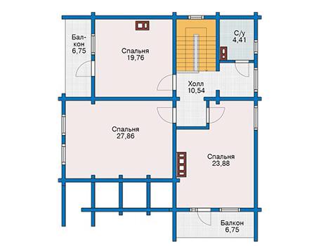 Планировка мансардного этажа :: Проект деревянного дома 12-79