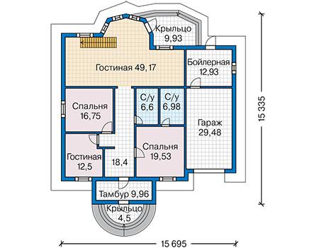 Планировка первого этажа :: Проект деревянного дома 12-80
