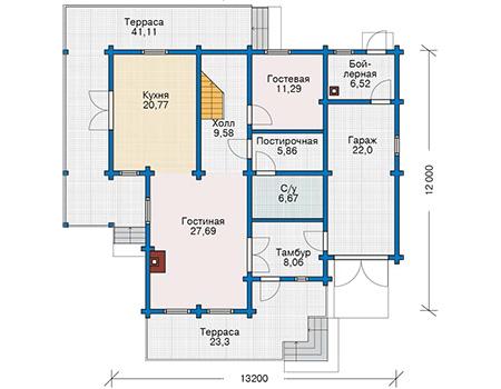Планировка первого этажа :: Проект деревянного дома 12-82
