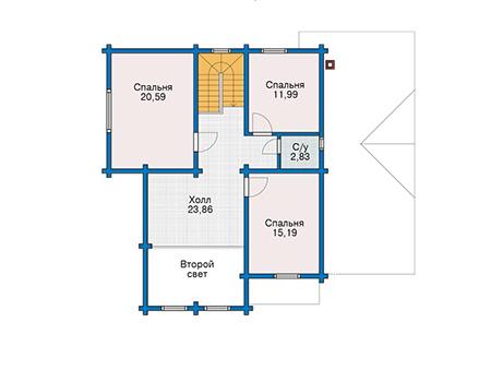 Планировка мансардного этажа :: Проект деревянного дома 12-82