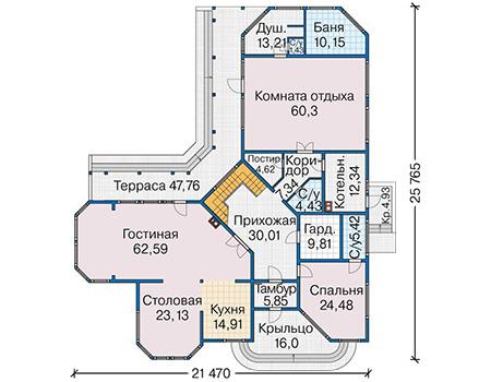 Планировка первого этажа :: Проект деревянного дома 12-83
