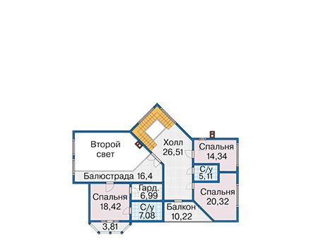 Планировка мансардного этажа :: Проект деревянного дома 12-83