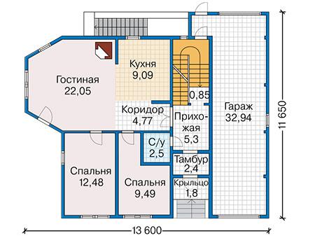 Планировка первого этажа :: Проект деревянного дома 12-84
