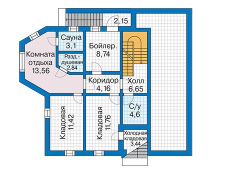 Планировка цокольного этажа :: Проект деревянного дома 12-84