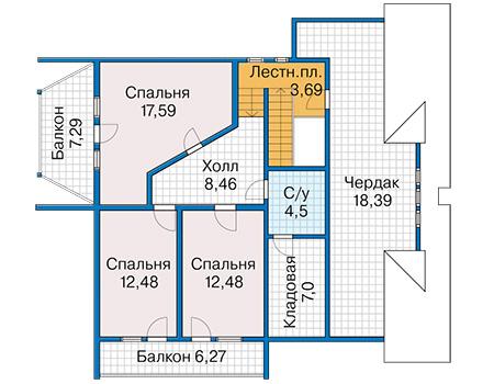 Планировка мансардного этажа :: Проект деревянного дома 12-84