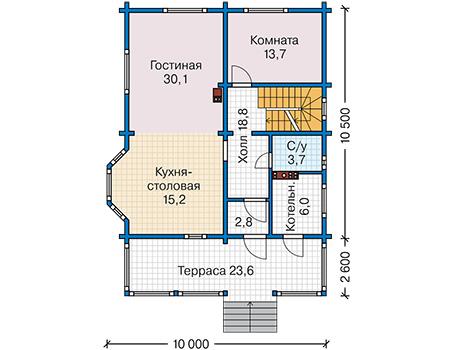Планировка первого этажа :: Проект деревянного дома 12-88