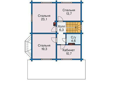 Планировка мансардного этажа :: Проект деревянного дома 12-88