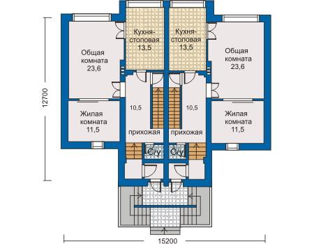 Планировка первого этажа :: Проект дома из кирпича 30-44