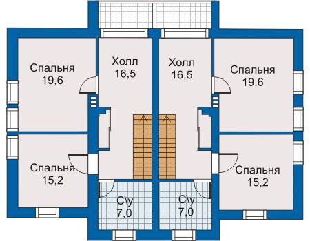 Планировка второго этажа :: Проект дома из кирпича 30-44