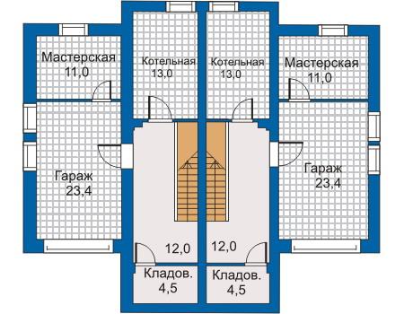 Планировка цокольного этажа :: Проект дома из кирпича 30-44