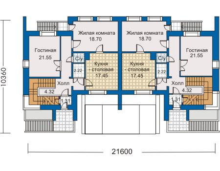 Планировка первого этажа :: Проект дома из кирпича 30-97