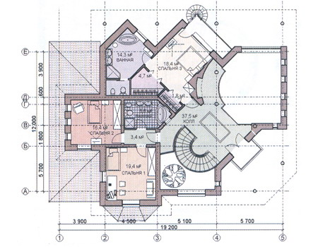 Планировка второго этажа :: Проект дома из комбинированных материалов 31-07