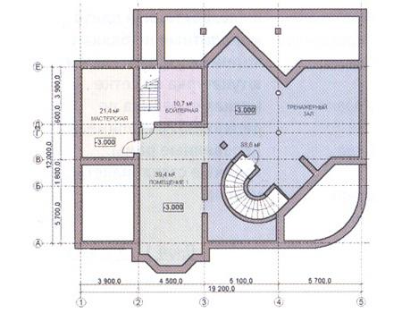 Планировка цокольного этажа :: Проект дома из комбинированных материалов 31-07
