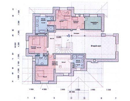 Планировка второго этажа :: Проект дома из комбинированных материалов 31-16